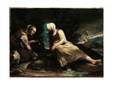 Scene with Shepherdesses Giclée-tryk af Giuseppe Maria Crespi