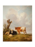 View in Stour Valley with Two Cows Giclee Print by Thomas Sidney Cooper