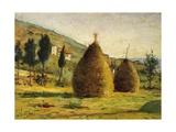 Haystacks in Sun, 1890 Reproduction procédé giclée par Silvestro Lega