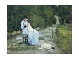 In Garden Giclee Print by Silvestro Lega