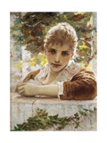 Woman on Porch Giclee Print by Eugenio Prati