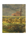 Gathering Hay Giclee Print by Johan Christian Clausen Dahl