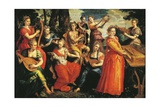 Apollo and the Muses Giclee Print by Maarten de Vos