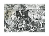 Allegory on the Travels of Ferdinand Magellan Giclee Print by Theodore de Bry