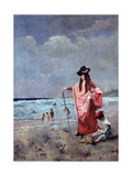 On the Beach Giclee Print by Alfred Emile Stevens