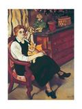 Portrait of Lily Walton with Raminou Giclée-Druck von Marie Clementine Valadon
