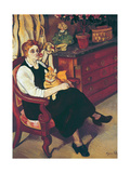 Portrait of Lily Walton with Raminou Giclee Print by Marie Clementine Valadon