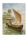 Robinson Crusoe Sailing in His Boat Giclee Print