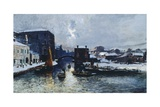 Chioggia under Snow, 1880-85 Giclee Print by Mose Bianchi