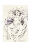 Woman in a Chair, 1925-1926 Gicleetryck av Jules Pascin
