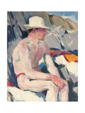 Bather in a White Hat Giclee Print by Francis Campbell Boileau Cadell