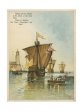 Columbus Setting Sail for the New World Giclee Print by Andrew Melrose
