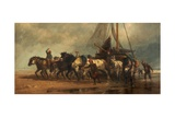 Hauling Up a Fishing Boat, the Netherlands, 1870 Giclee Print by Richard Beavis