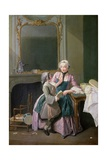 The Reading Lesson, 1740 Giclee Print by Louis Aubert