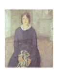 Girl in a Blue Dress Holding a Piece of Sewing Giclee Print by Gwen John