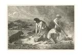 L'Art De Faire Le Pain a L'Age De La Pierre Giclee Print by Emile Antoine Bayard