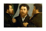 Triple Portrait of Goldsmith Giclee Print by Lorenzo Lotto