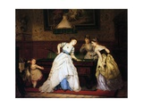 Ladies Playing Billiard, 1869 Giclee Print by Charles Edouard Boutibonne