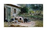 In Farmyard Giclee Print by Giovanni Muzzioli