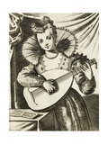 Woman Playing Lute, Engraving Giclee Print by Giacomo Franco