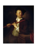 Portrait of Flutist Giclee Print by Alexis Grimou