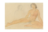Two Seated Nudes Gicleetryck av Auguste Rodin