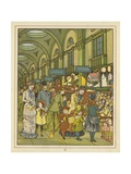 People Shopping in an Arcade Giclee Print by Thomas Crane