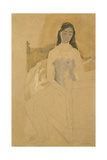 Self Portrait, Naked, Sitting on a Bed Giclee Print by Gwen John