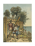 Columbus Building a Fort in Haiti Giclee Print by Andrew Melrose