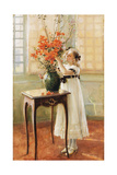 A Young Girl Arranging Spring Flowers, 1909 Giclee Print by Jules Alexis Muenier