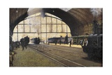 Central Station, Milan Giclee Print by Angelo Morbelli