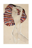 Nude Against Coloured Material, 1911 Giclee Print by Egon Schiele