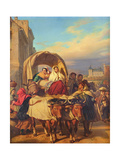 Returning to the Pau Market, 1860 Giclee Print by Eugene Deveria