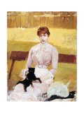 Lady with Black Kitten Giclee Print by Giuseppe De Nittis
