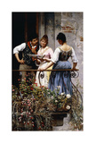 On the Balcony, 1889 Giclee Print by Eugen Von Blaas