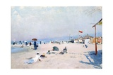 On Beach at Viareggio Giclee Print by Francesco Vinea