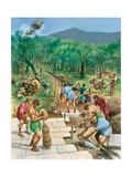 Roman Road Construction Giclee Print by Peter Jackson