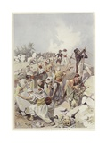 Soldiers and Civilians Building a Barricade Giclee Print by Felicien Baron De Myrbach-rheinfeld