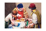 Studio Assistants Mixing Paints for Hans Holbein Giclee Print by Mike Lea