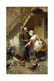 An Elegant Couple Feeding Chickens in a Courtyard Giclee Print by Giacomo Mantegazza