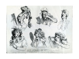 Six Stages of Mending a Face, 1792 Giclee Print by Thomas Rowlandson