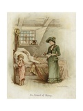A Woman Holding a Tray Beside a Bed Giclee Print by Frances Brundage