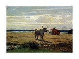 Oxen on Beach Giclee Print by Giuseppe Abbati