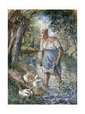 Peasant Crossing a Stream, C.1894 Reproduction procédé giclée par Camille Pissarro