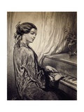 Woman Seated at Piano Giclee Print by Eugene Deveria