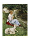 The Young Shepherdess Giclee Print by Evariste Carpentier