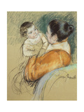 Mother Louise Holding Up Her Blue-Eyed Child Giclee Print by Mary Cassatt