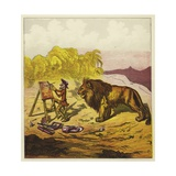 John Bold Surprised by a Lion While Painting Giclee Print by Ernest Henry Griset