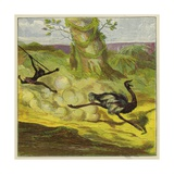 Man Hunting an Ostrich Giclee Print by Ernest Henry Griset