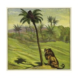 Man Escaping from a Lion by Climbing a Tree Giclee Print by Ernest Henry Griset
